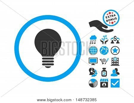 Electric Bulb pictograph with bonus icon set. Vector illustration style is flat iconic bicolor symbols, blue and gray colors, white background.