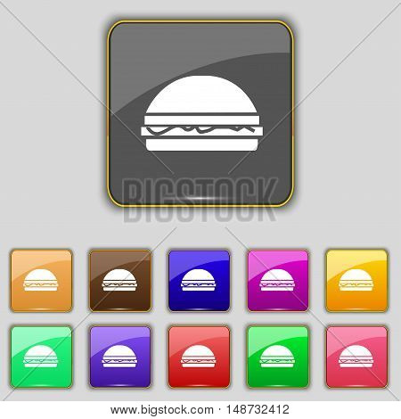 Hamburger Icon Sign. Set With Eleven Colored Buttons For Your Site. Vector