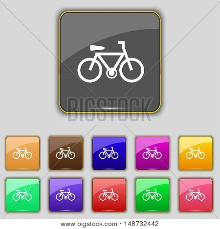 Bicycle Icon Sign. Set With Eleven Colored Buttons For Your Site. Vector