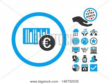 Euro Barcode icon with bonus images. Vector illustration style is flat iconic bicolor symbols, blue and gray colors, white background.