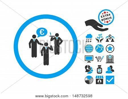 Euro Discuss Persons pictograph with bonus images. Vector illustration style is flat iconic bicolor symbols, blue and gray colors, white background.