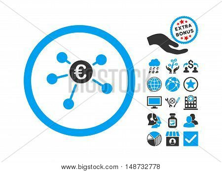 Euro Payments icon with bonus pictogram. Vector illustration style is flat iconic bicolor symbols, blue and gray colors, white background.
