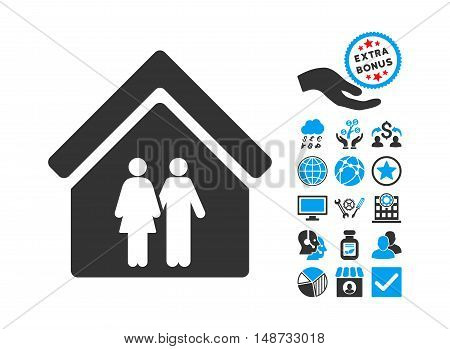 Family House pictograph with bonus images. Vector illustration style is flat iconic bicolor symbols, blue and gray colors, white background.