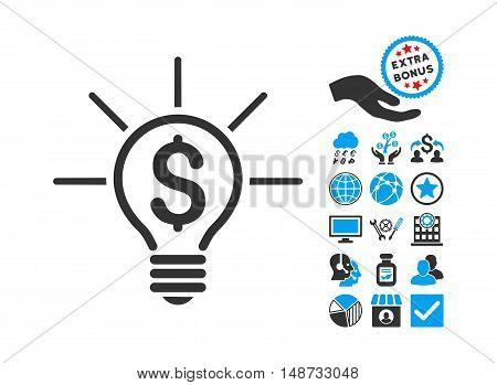 Financial Idea Bulb pictograph with bonus design elements. Vector illustration style is flat iconic bicolor symbols, blue and gray colors, white background.