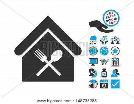 Food Court pictograph with bonus pictures. Vector illustration style is flat iconic bicolor symbols, blue and gray colors, white background.