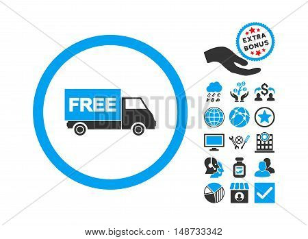 Free Shipment icon with bonus symbols. Vector illustration style is flat iconic bicolor symbols, blue and gray colors, white background.