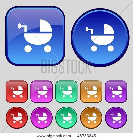 Baby Stroller Icon Sign. A Set Of Twelve Vintage Buttons For Your Design. Vector