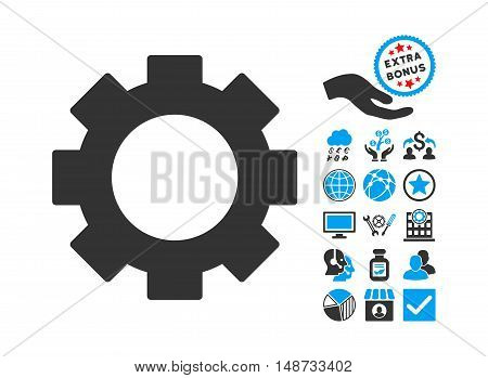 Gear icon with bonus icon set. Vector illustration style is flat iconic bicolor symbols, blue and gray colors, white background.