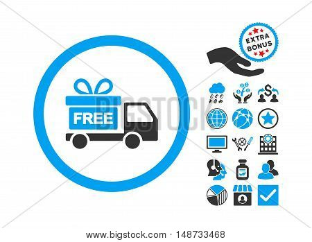 Gift Delivery pictograph with bonus design elements. Vector illustration style is flat iconic bicolor symbols, blue and gray colors, white background.