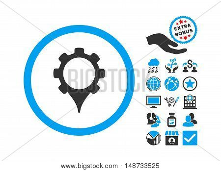 GPS Settings pictograph with bonus design elements. Vector illustration style is flat iconic bicolor symbols, blue and gray colors, white background.