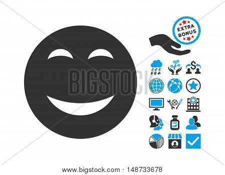 Happy pictograph with bonus images. Vector illustration style is flat iconic bicolor symbols, blue and gray colors, white background.