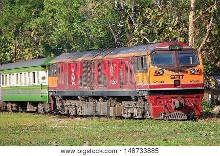 CHIANGMAI THAILAND -JANUARY 16 2013: Ge Diesel locomotive no 4550. For train no 52 from chiangmai to bangkok. Photo at Chiangmai railway station.
