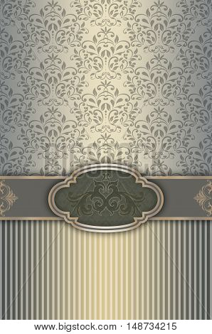Vintage background with decorative borderframe and old-fashioned floral patterns.