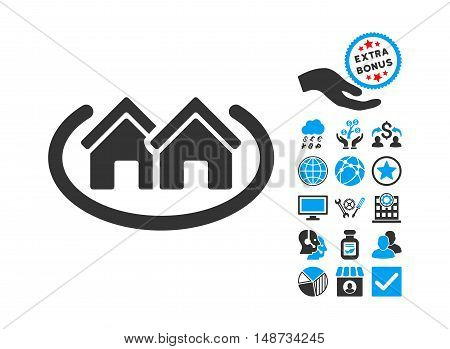 Houses Area icon with bonus design elements. Vector illustration style is flat iconic bicolor symbols, blue and gray colors, white background.