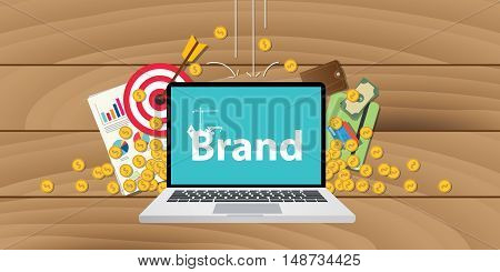 brand development or building with money goals or gold coin and target valuation written on screen of laptop