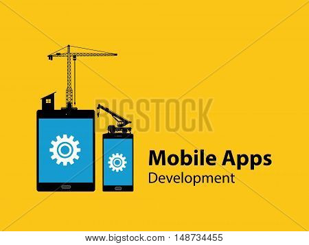 mobile apps development concept with tab and smartphone with gear and construction tools as illustration with text explanation