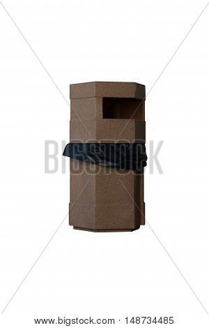 Brown plastic recycle bin and black bag isolated on white background