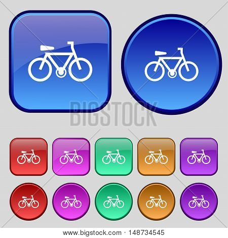 Bicycle Icon Sign. A Set Of Twelve Vintage Buttons For Your Design. Vector