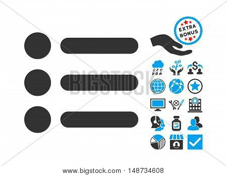 Items icon with bonus icon set. Vector illustration style is flat iconic bicolor symbols, blue and gray colors, white background.