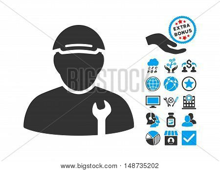 Mechanic pictograph with bonus images. Vector illustration style is flat iconic bicolor symbols, blue and gray colors, white background.