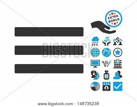 Menu icon with bonus pictogram. Vector illustration style is flat iconic bicolor symbols, blue and gray colors, white background.