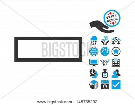 Minus pictograph with bonus pictures. Vector illustration style is flat iconic bicolor symbols, blue and gray colors, white background.