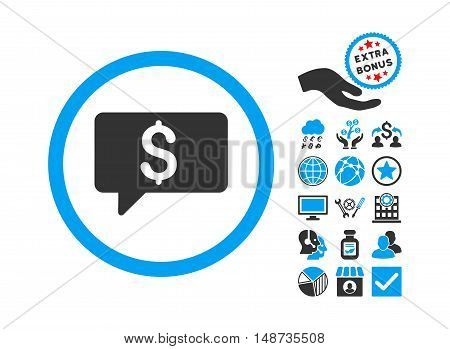 Money Message icon with bonus icon set. Vector illustration style is flat iconic bicolor symbols, blue and gray colors, white background.