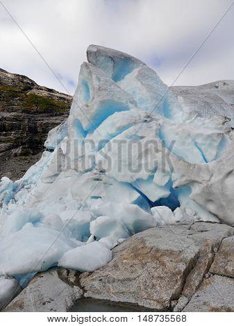 Nigardsbreen, the best glacier in Norway. Face of the glacier.