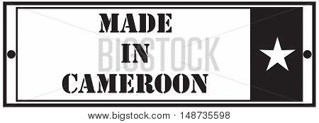 Rectangular stamp Made in Cameroon. Vector illustration.