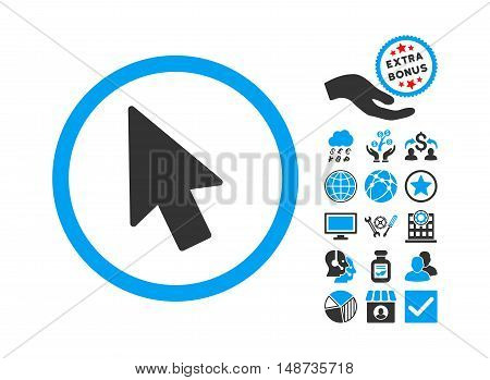 Mouse Pointer pictograph with bonus symbols. Vector illustration style is flat iconic bicolor symbols, blue and gray colors, white background.
