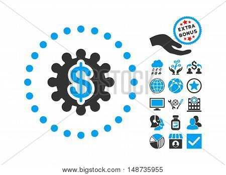 Payment Options icon with bonus symbols. Vector illustration style is flat iconic bicolor symbols, blue and gray colors, white background.
