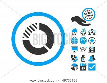 Pie Chart pictograph with bonus symbols. Vector illustration style is flat iconic bicolor symbols, blue and gray colors, white background.