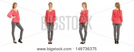 Cute Woman In Red Blouse Isolated On White Background