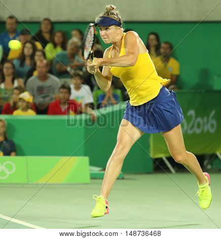RIO DE JANEIRO, BRAZIL - AUGUST 9, 2016: Professional tennis player Elina Svitolina of Ukraine in action during singles round three match of the Rio 2016 Olympic Games against Serana Williams of USA