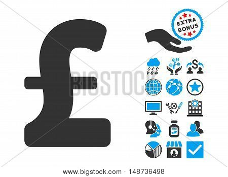 Pound Sterling pictograph with bonus clip art. Vector illustration style is flat iconic bicolor symbols, blue and gray colors, white background.