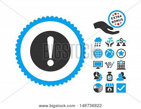 Problem icon with bonus icon set. Vector illustration style is flat iconic bicolor symbols, blue and gray colors, white background.