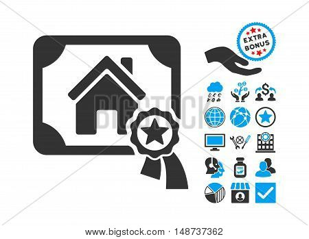 Realty Certification pictograph with bonus elements. Vector illustration style is flat iconic bicolor symbols, blue and gray colors, white background.