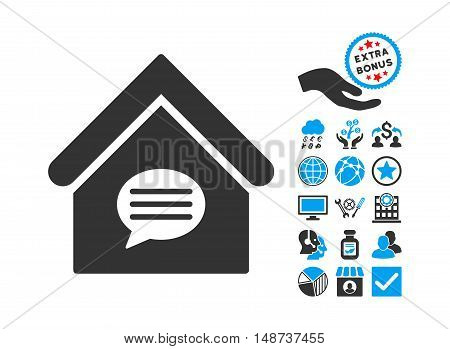 Realty Message pictograph with bonus pictograph collection. Vector illustration style is flat iconic bicolor symbols, blue and gray colors, white background.