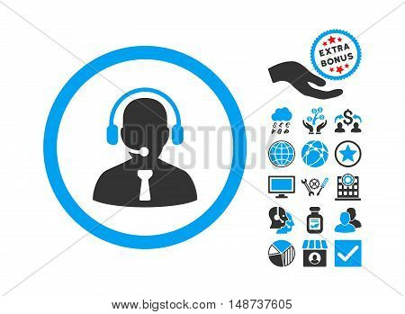 Reception Operator pictograph with bonus clip art. Vector illustration style is flat iconic bicolor symbols, blue and gray colors, white background.
