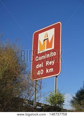 Large sign on main A357 trunk road in Andalusia Spain showing distance to Caminito del Rey the Kings Walkway