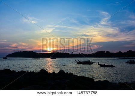 Beach Sunset Flare Silhouette