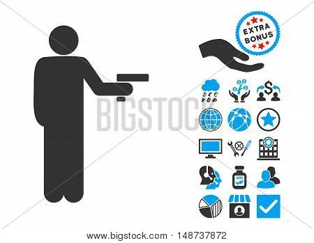 Robber With Gun icon with bonus pictograph collection. Vector illustration style is flat iconic bicolor symbols, blue and gray colors, white background.