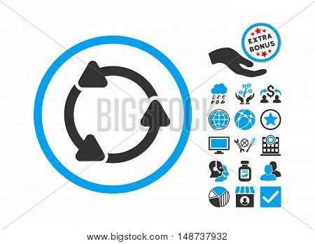 Rotate CCW pictograph with bonus icon set. Vector illustration style is flat iconic bicolor symbols, blue and gray colors, white background.