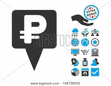 Rouble Map Pointer icon with bonus elements. Vector illustration style is flat iconic bicolor symbols, blue and gray colors, white background.