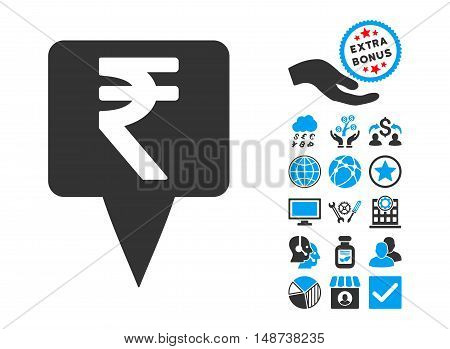 Rupee Map Pointer pictograph with bonus design elements. Vector illustration style is flat iconic bicolor symbols, blue and gray colors, white background.