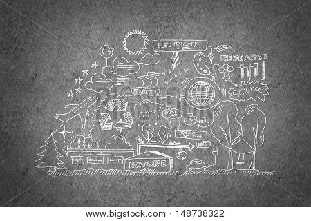 Idea of nature and industry interaction on concrete wall background