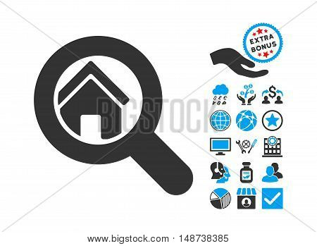 Search House pictograph with bonus pictures. Vector illustration style is flat iconic bicolor symbols, blue and gray colors, white background.