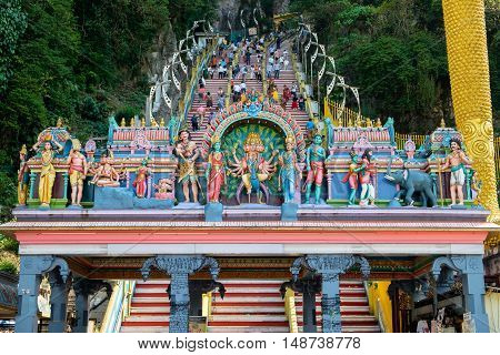 KUALA LUMPUR MALAYSIA - MARCH 1: Details of decorations on the entrance of Batu Caves on March 1 2016 in Kuala Lumpur Malaysia.