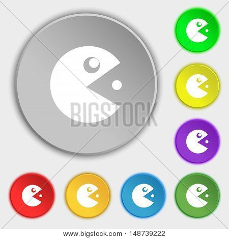Pac Man Icon Sign. Symbol On Eight Flat Buttons. Vector