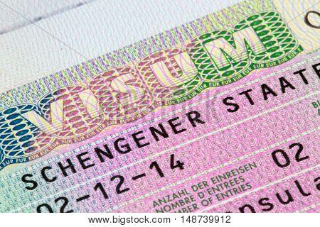 ShanghaiChina 09/25/2016 Closeup of a german Schengen visa in a passport